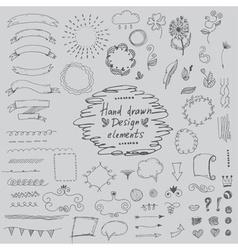 Set of hand drawn design elementsornamentsfloral vector image