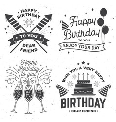 Set of happy birthday templates for overlay badge vector