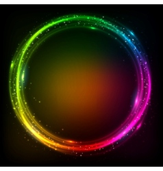 Shining lights rainbow colors frame vector