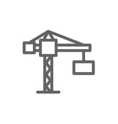 simple building crane line icon symbol and sign vector image