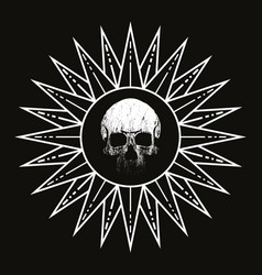 Skull and sun for shirt vector
