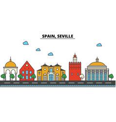 spain seville city skyline architecture vector image