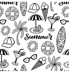 Summer line art seamless pattern with holiday vector
