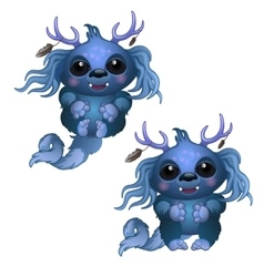 Two smiling blue monster with horns and big eyes vector