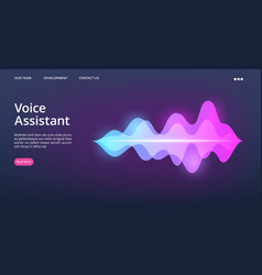 voice assistant web page sound wave vector image