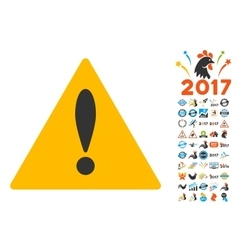 Warning Icon with 2017 Year Bonus Pictograms vector
