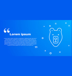 white line bear head icon isolated on blue vector image
