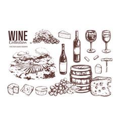 Wine set hand drawn 3 vector