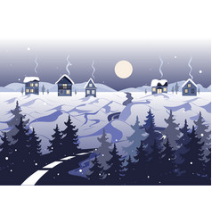 winter landscape with road houses and trees vector image