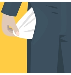 Empty pocket sticks out of the trousers Bankrupt vector image