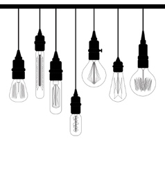 Set of Edison loft lights Retro lamp for design vector image vector image