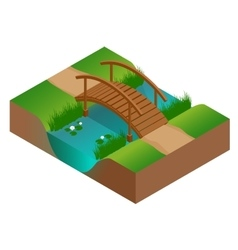 Wooden bridge at the river Flat 3d vector image