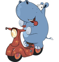 A little hippopotamus and a red motor scooter vector image vector image