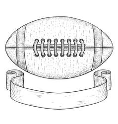 american football ball with ribbon banner hand vector image