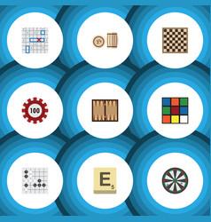 flat icon games set of mahjong gomoku sea fight vector image