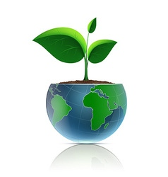 Flower pot in the form of the planet earth vector image