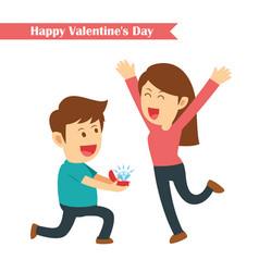 male kneeling giving a ring for his girlfriend vector image