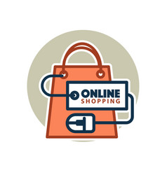 online shopping web icon of bag and vector image