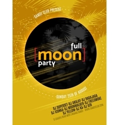 Full Moon Beach Party Flyer Design EPS 10 vector image