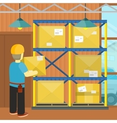 Pallet with Boxes in Warehouse Interior Loading vector image vector image