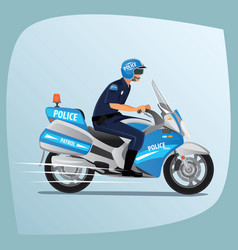 police officer or policeman riding on motorcycle vector image
