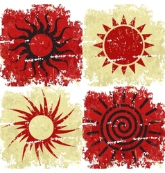 Set of different grunge sun backgound vector image