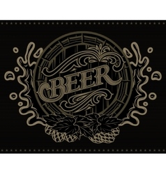 template with a barrel of beer advertising poster vector image vector image