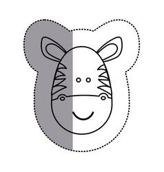 Contour face zebra icon vector