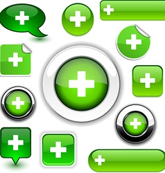Green cross signs vector image