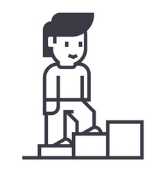 personal growthman stairs up line icon vector image vector image
