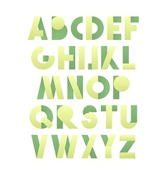 Retro font in green Green alphabet Realistic vector image
