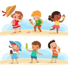 set of children with ice cream vector image