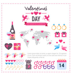 valentines day infographic banner set of icons vector image