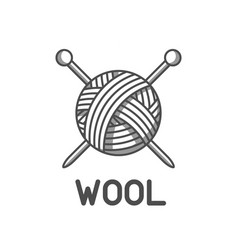 wool emblem with with ball of yarn and knitting vector image