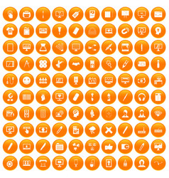 100 webdesign icons set orange vector
