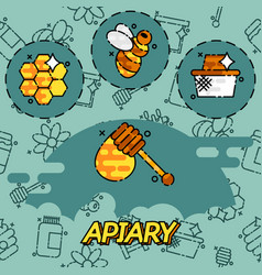 apiary flat icons set vector image