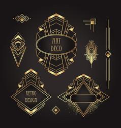 Art deco vintage gold patterns over black frames vector