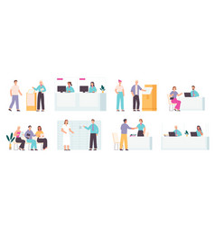 bank employees and clients financial office vector image