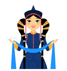 Beautiful mongolian woman vector