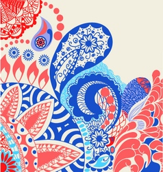 beauty pattern flowers and paisley pattern vector image