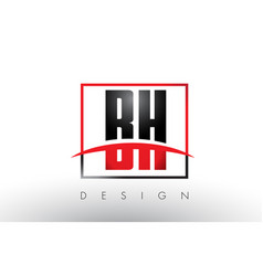bh b h logo letters with red and black colors and vector image