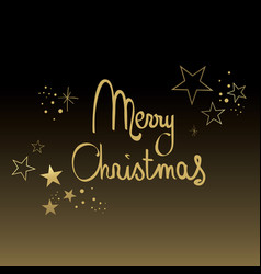 Black and gold merry christmas vector