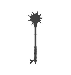 Black silhouette isolated knight mace vector