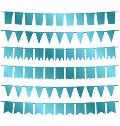 blue flags and bunting garlands for decoration vector image