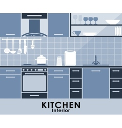 Blue kitchen interior in flat style vector image