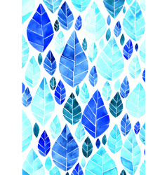 Blue leaves watercolor hand painting background vector