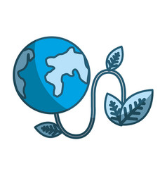 Blue planet with power cable and leaves vector