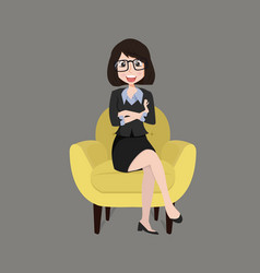 businesswoman sitting yellow modern chair vector image
