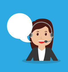 Call center operator girl worker with headset vector