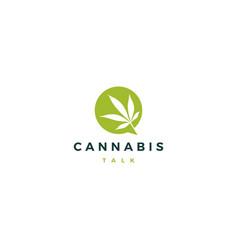 cannabis talk chat bubble logo icon vector image